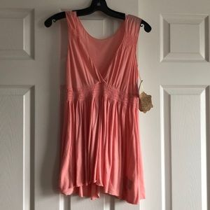 Paige light pink tank with open back NWT